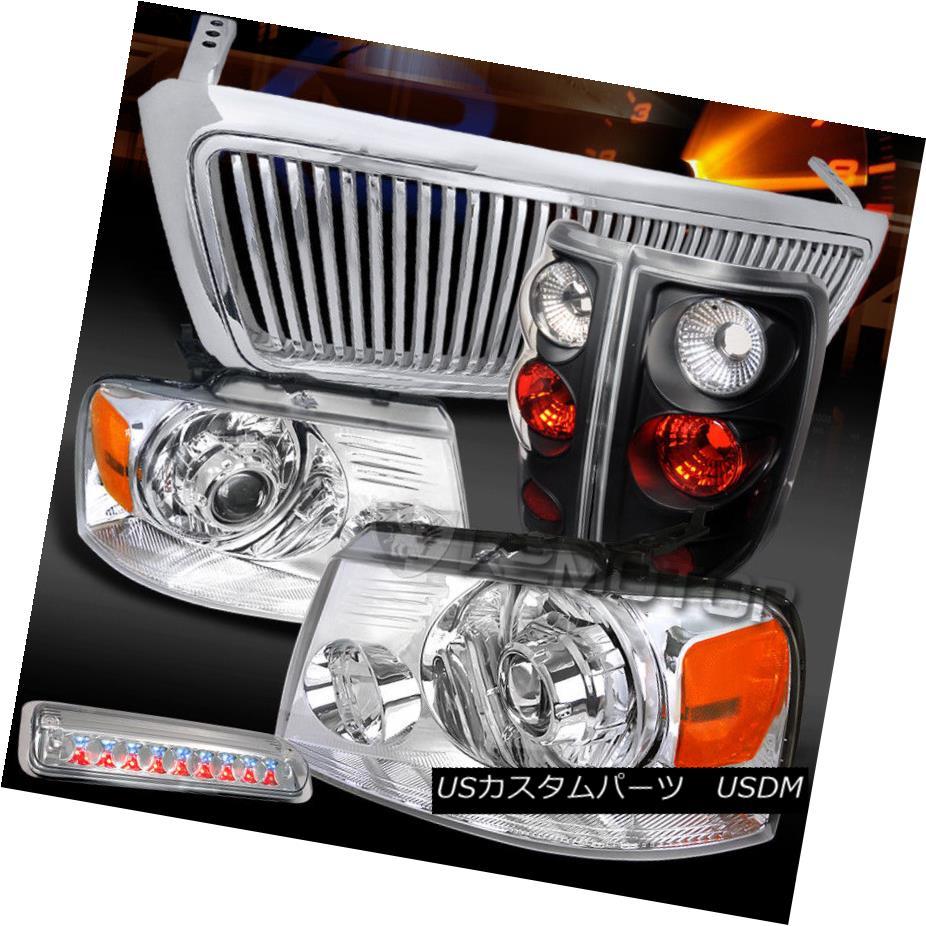 ヘッドライト 04-08 F150 Chrome LED Projector Headlights+Tail+Clear LED 3rd Brake Light+Grille 04-08 F150クロームLEDプロジェクターヘッドライト+タイ l +クリアLED第3ブレーキライト+グリル