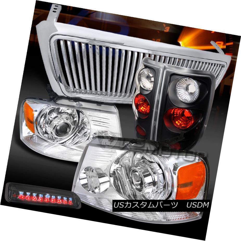ヘッドライト 04-08 F150 Chrome LED Projector Headlights+Tail+Smoke LED 3rd Brake Light+Grille 04-08 F150クロームLEDプロジェクターヘッドライト+タイ l +スモークLED第3ブレーキライト+グリル