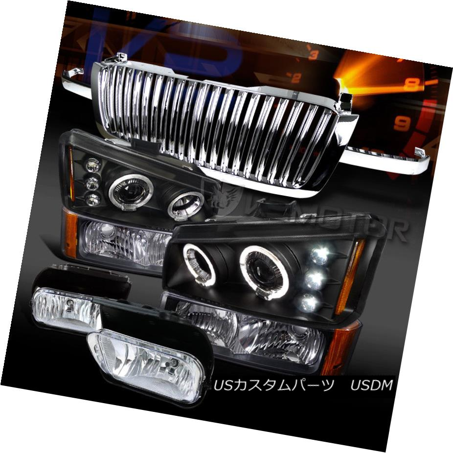 ヘッドライト 03-05 Silverado Black Halo Projector Head Bumper Lamps+Chrome Grille+Fog Lamps 03-05 Silverado Black Haloプロジェクターヘッドバンパーランプ+クロームグリル+フォグランプ