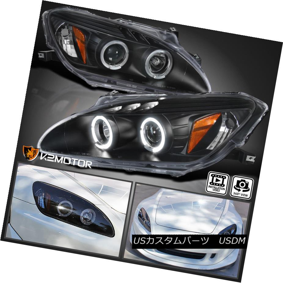 ヘッドライト For 2000-2003 Honda S2000 AP1 Halo+LED Projector Headlights Black Left+Right 2000-2003 Honda S2000 AP1 Halo + LEDプロジェクターヘッドライトブラック左+右