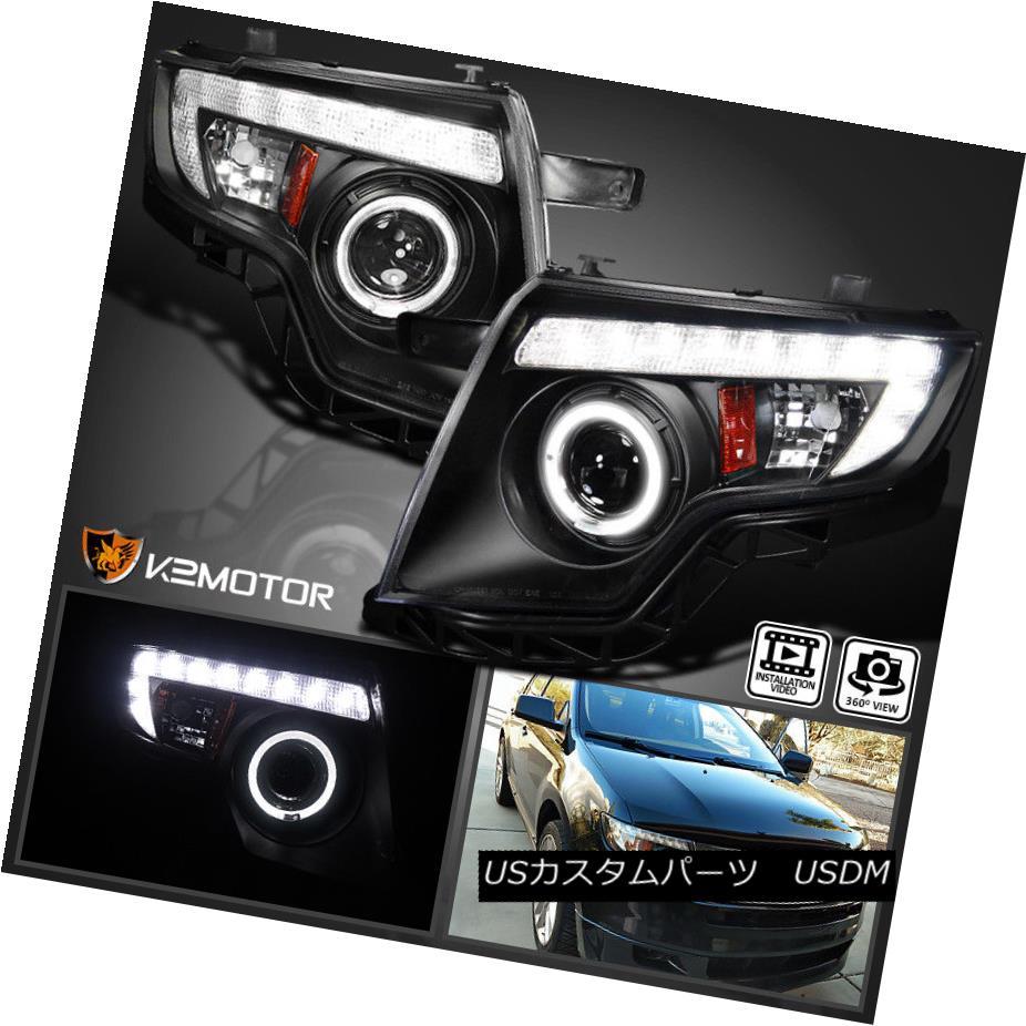ヘッドライト 2007-2010 Ford Edge LED DRL Black Halo Rim Projector Headlights Lamps 2007 - 2010年フォードエッジLED DRLブラックハローリムプロジェクターヘッドライトランプ