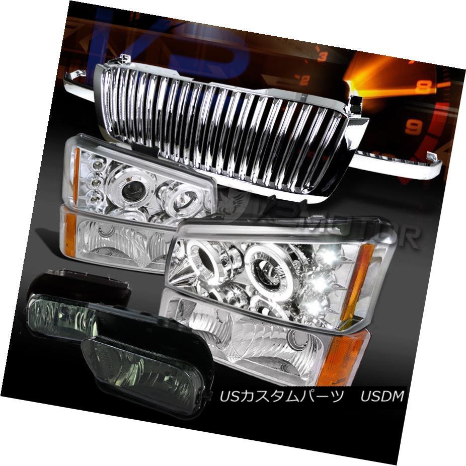 ヘッドライト 03-05 Silverado Chrome LED Projector Headlight Bumper Lamp+Grille+Smoke Fog Lamp 03-05 Silverado Chrome LEDプロジェクターヘッドライトバンパーランプ+グリル+ Sm 霧ランプ