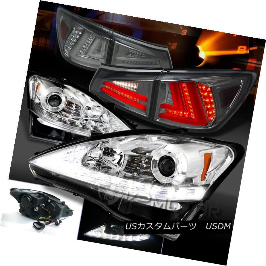ヘッドライト 06-08 Lexus IS250 Clear LED DRL Signal Projector Headlights+Smoke LED Tail Lamps 06-08 Lexus IS250クリアLED DRL信号プロジェクターヘッドライト+スモーキー ke LEDテールランプ