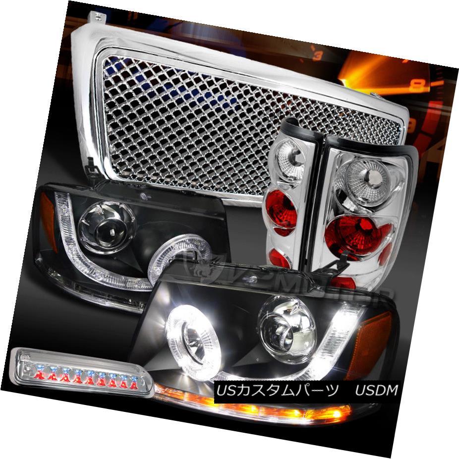 ヘッドライト 04-08 F150 Black SMD DRL Headlights+Chrome Grille+Tail LED 3rd Brake Lamps 04-08 F150ブラックSMD DRLヘッドライト+ Chr  omeグリル+テールLED第3ブレーキランプ