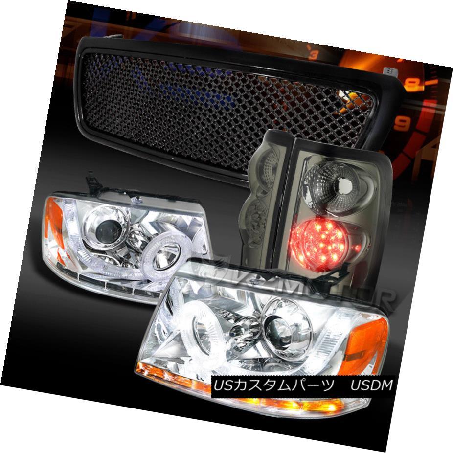 ヘッドライト 04-08 F150 Chrome SMD LED Projector Headlights+Smoke LED Tail Lamps+Black Grille 04-08 F150クロムSMD LEDプロジェクターヘッドライト+スモール ke LEDテールランプ+ブラックグリル