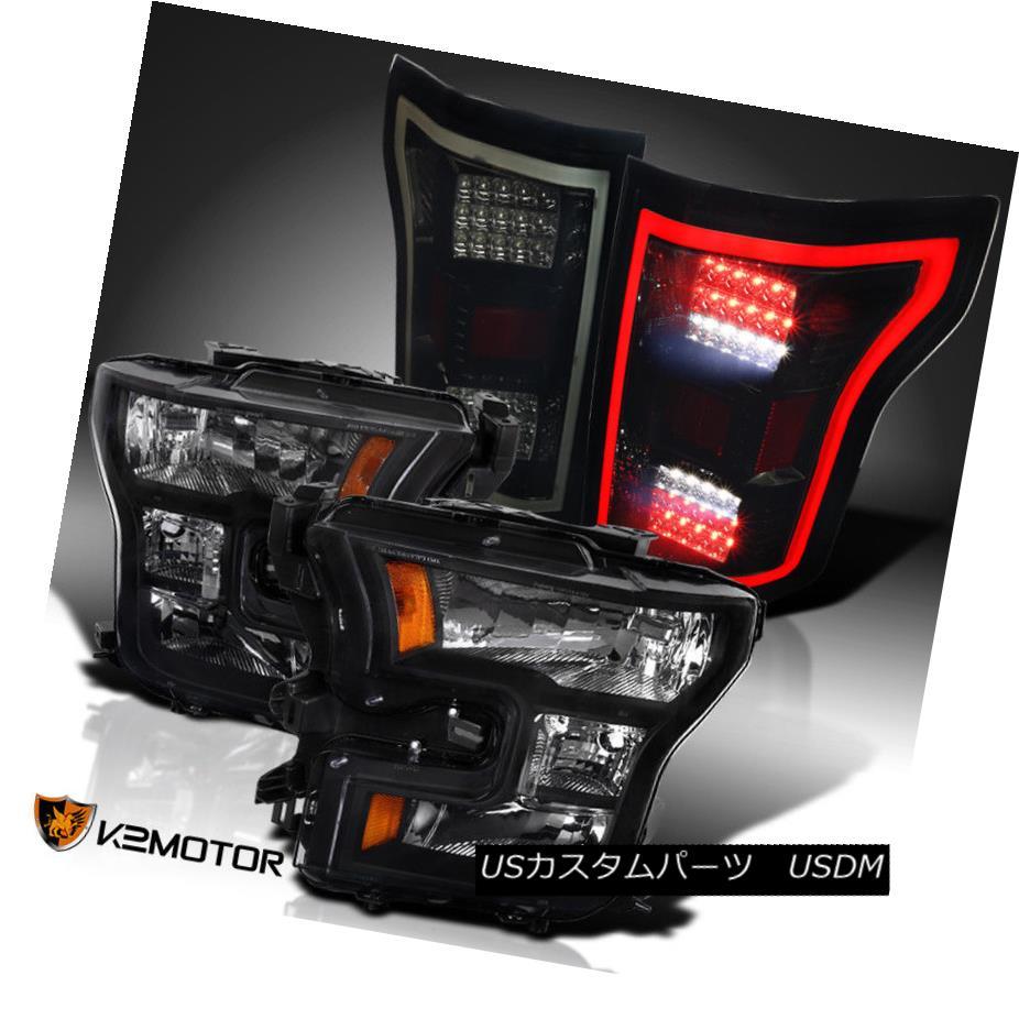 ヘッドライト Black 2015-2017 F150 F-150 Replacement Headlights+Dark Smoke Full LED Tail Lamps ブラック2015-2017 F150 F-150交換用ヘッドライト+ Dar  kスモークフルLEDテールランプ