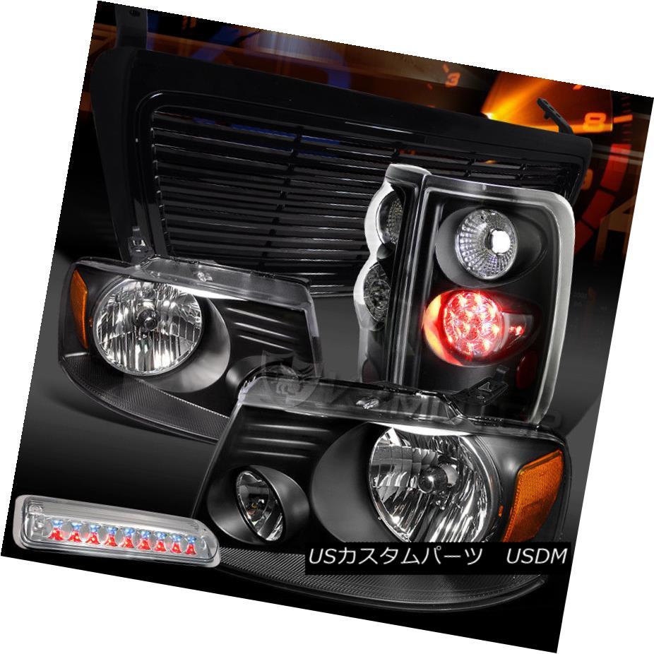 ヘッドライト 04-08 F150 Black Headlights+LED Tail Lamps+Clear 3rd Brake+Billet Hood Grille 04-08 F150ブラックヘッドライト+ LEDテールランプ+クリア第3ブレーキ+ビレットフードグリル