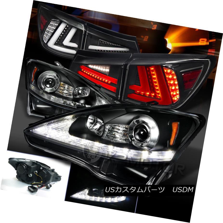 ヘッドライト 06-08 Lexus IS250 Black LED DRL Signal Projector Headlights+LED Tail Lamps 06-08レクサスIS250ブラックLED DRLシグナルプロジェクターヘッドライト+ LEDテールランプ