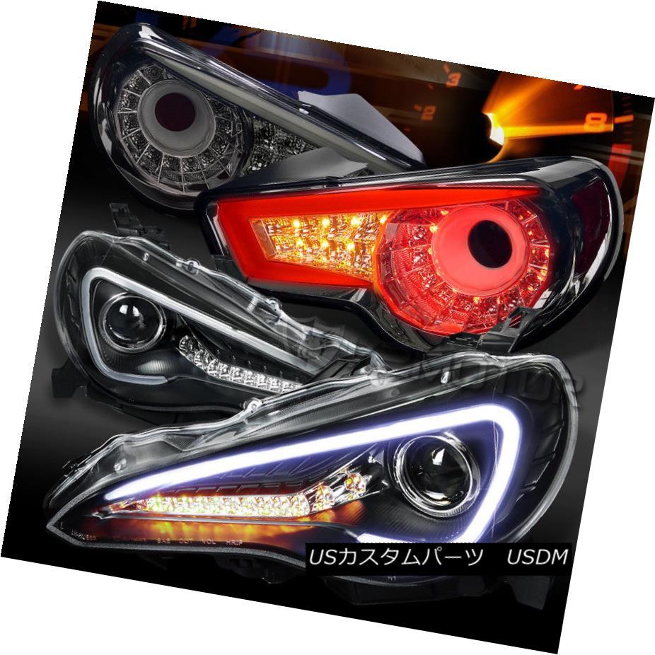 ヘッドライト 12-16 Scion FR-S Black LED DRL Signal Projector Headlights+Smoke LED Tail Lamps 12-16 Scion FR-S黒色LED DRL信号プロジェクターヘッドライト+スモーキー ke LEDテールランプ