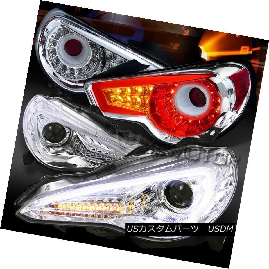 ヘッドライト 12-16 Scion FR-S Chrome LED DRL Signal Projector Headlights+Clear LED Tail Lamps 12-16 Scion FR-SクロームLED DRLシグナルプロジェクターヘッドライト+ Cle  ar LEDテールランプ