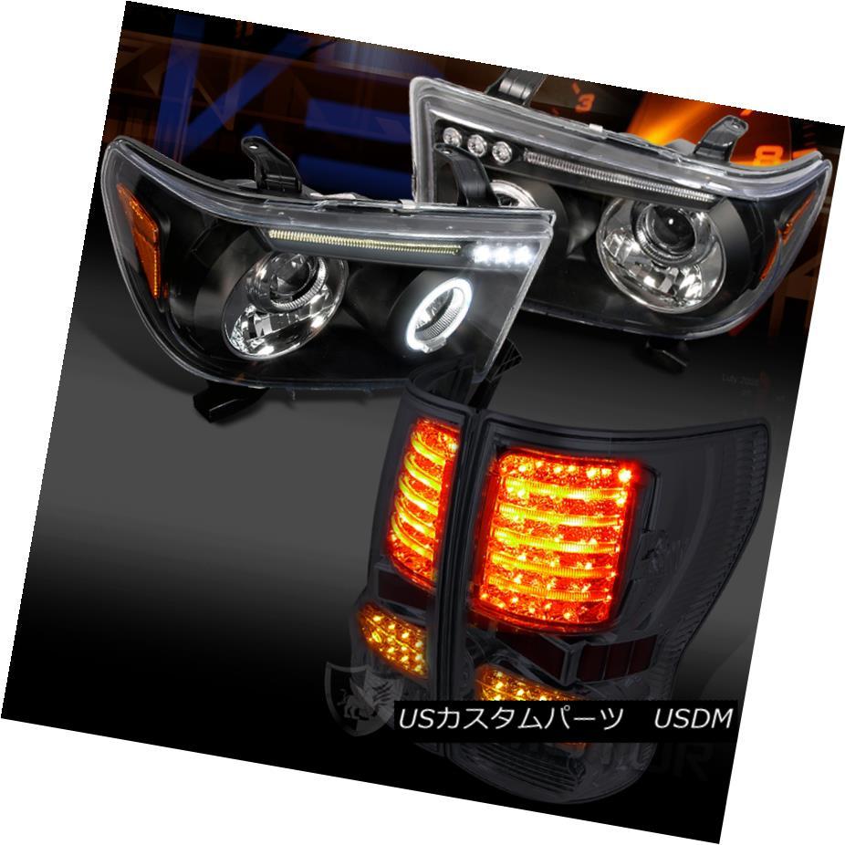 ヘッドライト For 07-13 Toyota Tundra Black Halo Projector Headlights+Smoke Rear LED Tail Lamp 07-13 Toyota Tundra Black Haloプロジェクターヘッドライト+ Smo  keリアLEDテールランプ