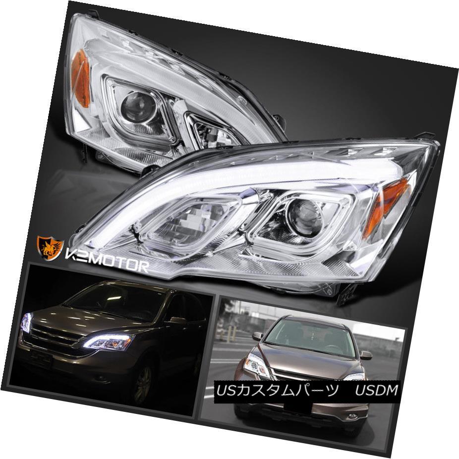 ヘッドライト For 2007-2011 Honda CRV CR-V LED DRL Chrome Projector Headlights Left+Right 2007年?2011年ホンダCRV CR-V LED DRLクロームプロジェクターヘッドライト左+右