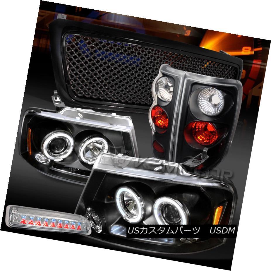 ヘッドライト 04-08 F150 Black Halo DRL Headlights+Mesh Grille+Tail Lamps+Clear LED 3rd Stop 04-08 F150ブラックHalo DRLヘッドライト+メス hグリル+テールランプ+クリアLED第3ストップ