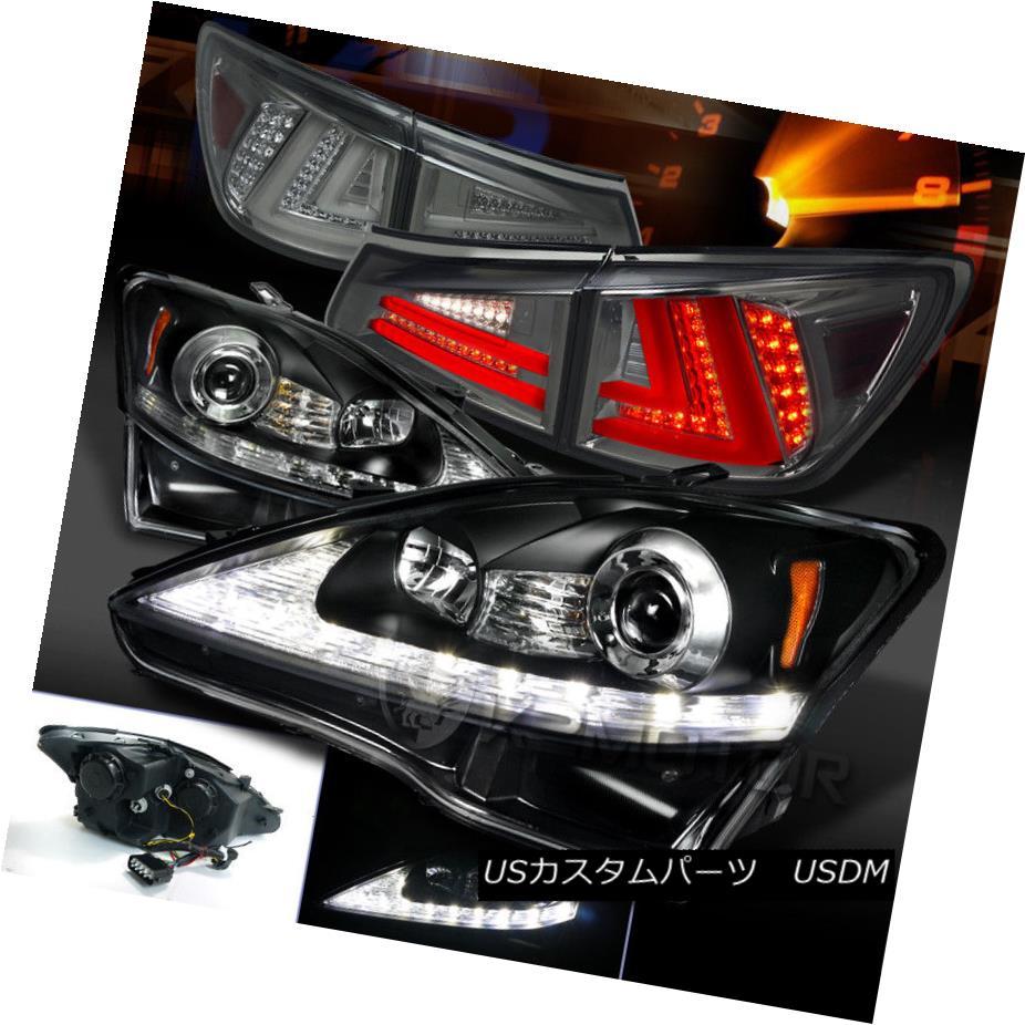 ヘッドライト 06-08 Lexus IS250 Black LED DRL Signal Projector Headlights+Smoke LED Tail Lamps 06-08 Lexus IS250ブラックLED DRLシグナルプロジェクターヘッドライト+スモーキー ke LEDテールランプ