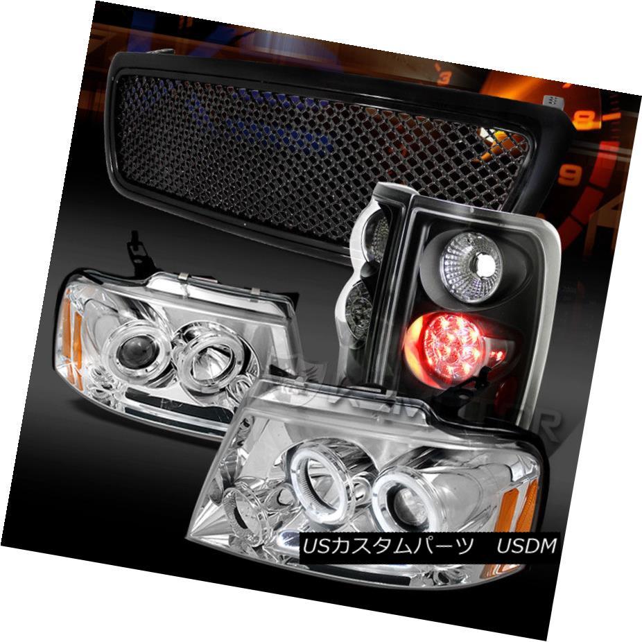 ヘッドライト 04-08 F150 Chrome Halo Projector Headlights+Black LED Tail Lamps+Hood Grille 04-08 F150クロームハロープロジェクターヘッドライト+ Bla  ck LEDテールランプ+フードグリル