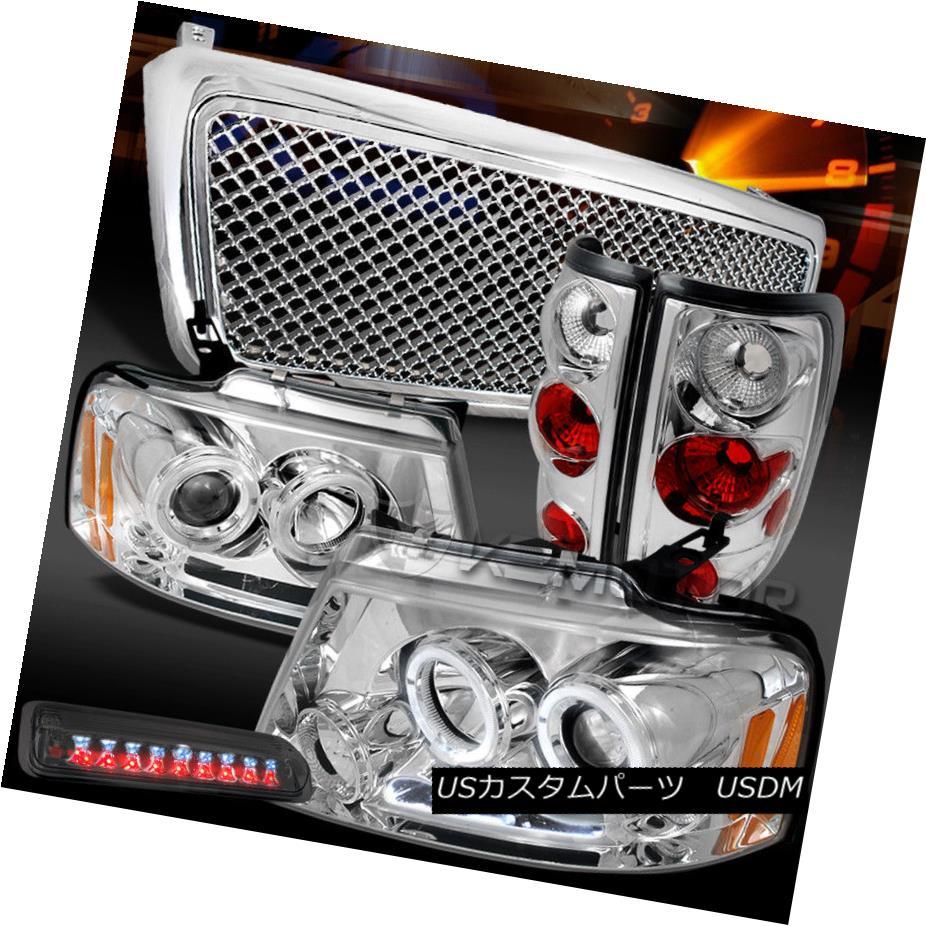 ヘッドライト 04-08 F150 Chrome Halo Headlights+Mesh Grille+Tail Lamps+Smoke LED 3rd Brake 04-08 F150クロームハローヘッドライト+メス hグリル+テールランプ+スモークLED第3ブレーキ