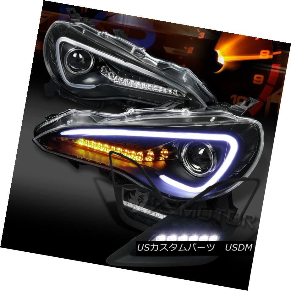 ヘッドライト For 12-16 FR-S Toyota 86 Black LED DRL Projector Headlight+ LED Bumper Fog Lamps 12-16 FR-Sトヨタ86ブラックLED DRLプロジェクターヘッドライト+ LEDバンパーフォグランプ
