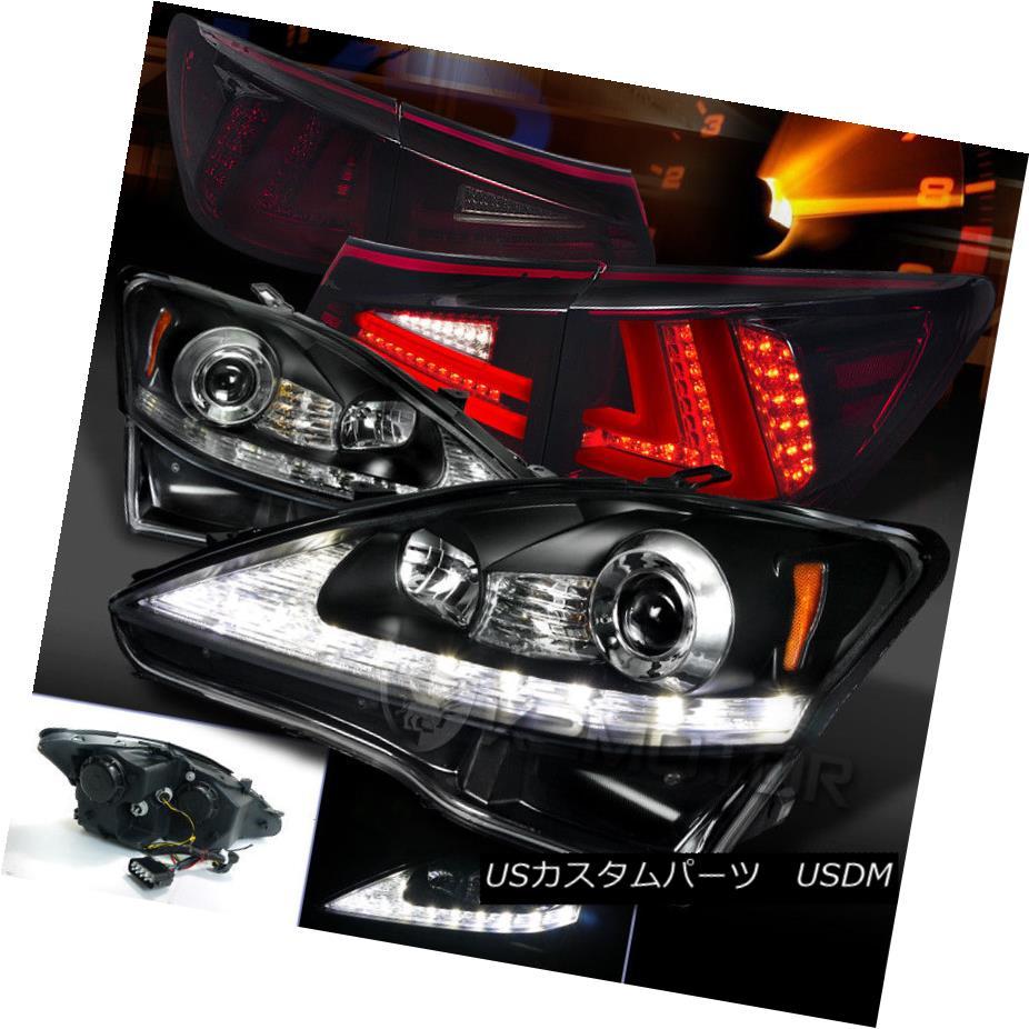 ヘッドライト 06-08 IS250 Black LED DRL Signal Projector Headlights+Red Smoke LED Tail Lamps 06-08 IS250黒色LED DRL信号プロジェクターヘッドライト+赤色スモークLEDテールランプ