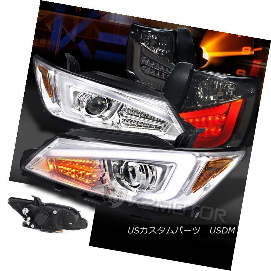 ヘッドライト 11-13 Scion tC Chrome LED Light Bar+Signal Projector Headlights+Smoke Tail Lamps 11-13 Scion tC Chrome LEDライトバー+信号プロジェクターヘッドライト+スモーキー keテールランプ