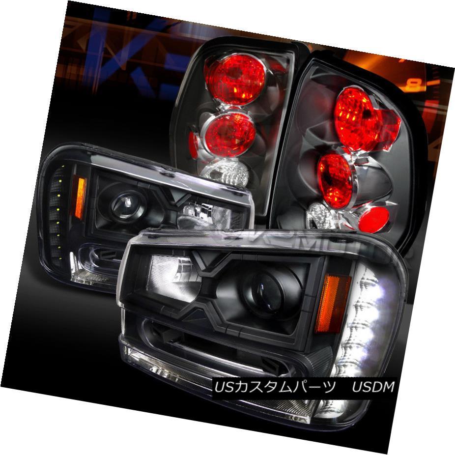 ヘッドライト 02-09 Trailblazer Black SMD LED DRL Projector Headlights+Black Tail Lamps 02-09トレイルブレイカーブラックSMD LED DRLプロジェクターヘッドライト+ Bla  ckテールランプ