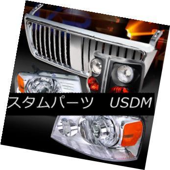 ヘッドライト 04-08 Ford F150 Chrome Projector Headlights+Hood Grille+Black Tail Lamps 04-08 Ford F150クロームプロジェクターヘッドライト+ Hoo  dグリル+ブラックテールランプ