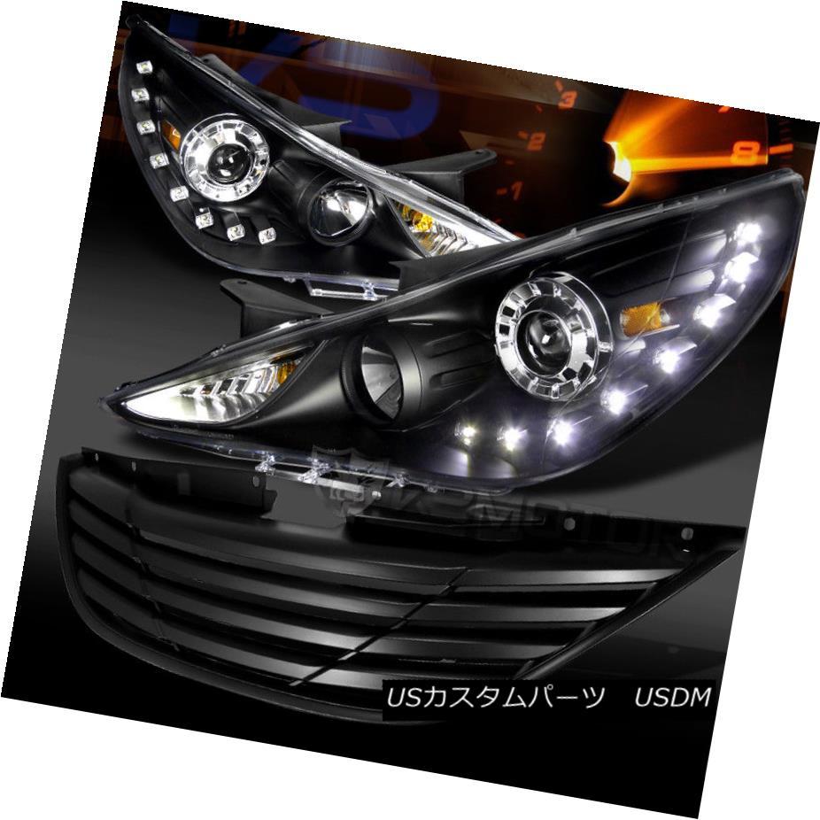 ヘッドライト Fit 11-13 Sonata Black LED DRL Projector Headlights+Black Hood Grille フィット11-13ソナタブラックLED DRLプロジェクターヘッドライト+ Bla  ckフードグリル