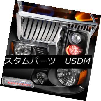 ヘッドライト 04-08 F150 Black Headlights+LED Tail Lamps+Chrome Front Grille+3rd Brake 04-08 F150ブラックヘッドライト+ LEDテールランプ+クロームフロントグリル+ 3ブレーキ