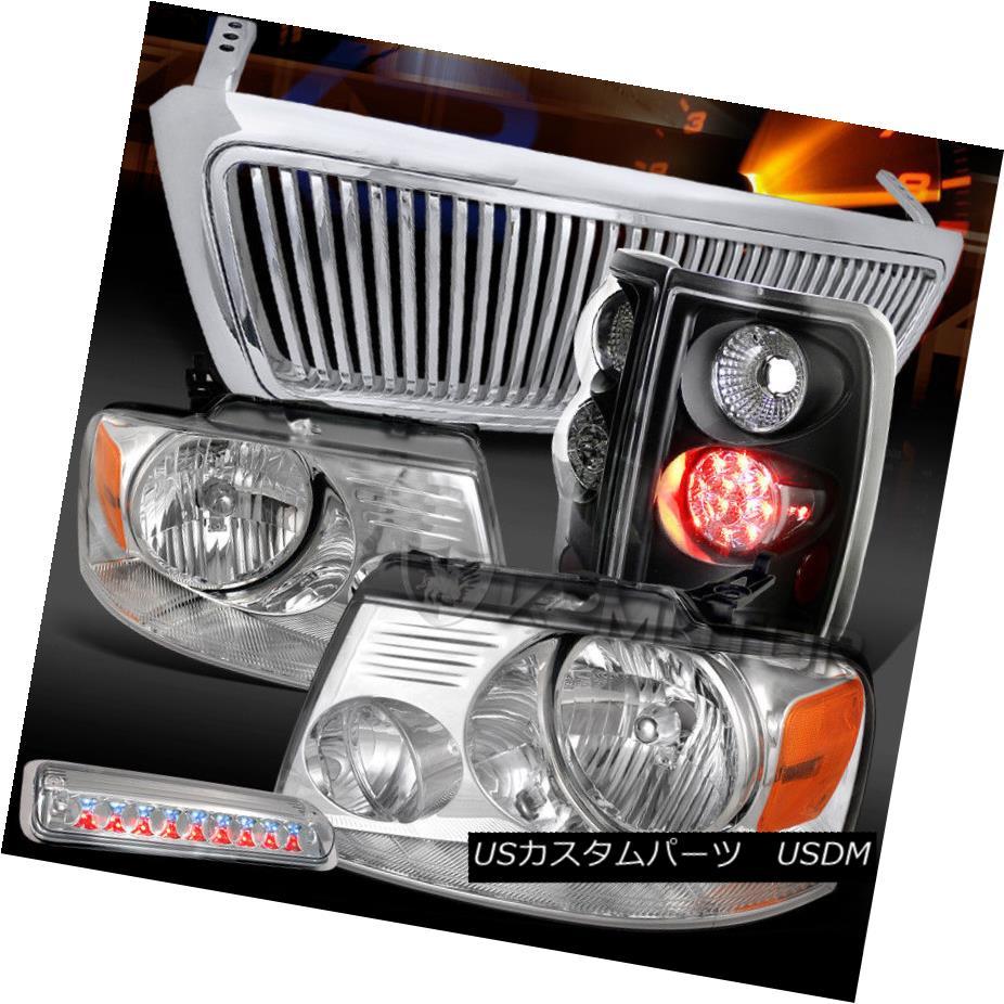 ヘッドライト 04-08 F150 Chrome Headlights+Black LED Tail+Clear 3rd Brake Light+Chrome Grille 04-08 F150クロームヘッドライト+ Bla  ck LEDテール+クリア第3ブレーキライト+クロームグリル