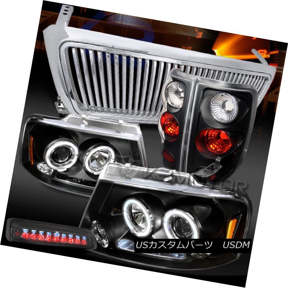 ヘッドライト 04-08 F150 LED Black Projector Headlights+Tail+Smoke LED 3rd Brake Light+Grille 04-08 F150 LEDプロジェクターヘッドライト+タイ l +スモークLED第3ブレーキライト+グリル