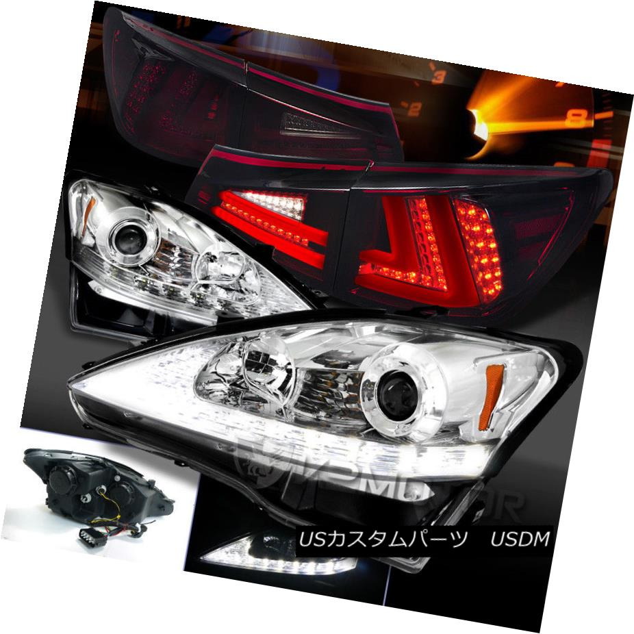 ヘッドライト 06-08 IS250 Chrome LED DRL Signal Projector Headlights+Red Smoke LED Tail Lamps 06-08 IS250 Chrome LED DRL信号プロジェクターヘッドライト+赤色スモークLEDテールランプ
