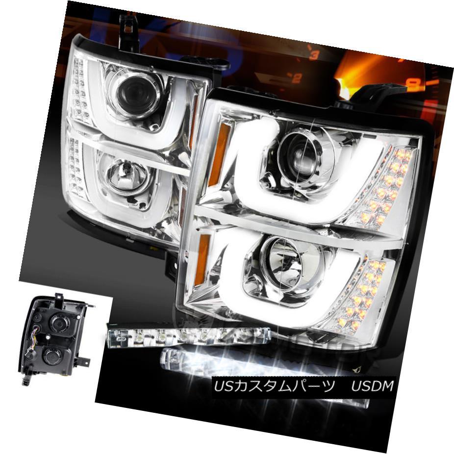 ヘッドライト 14-15 Silverado 1500 Halo LED Signal Projector Headlights+6-LED Bumper DRL Lamps 14-15 Silverado 1500 Halo LEDシグナルプロジェクターヘッドライト+ 6-L  EDバンパーDRLランプ