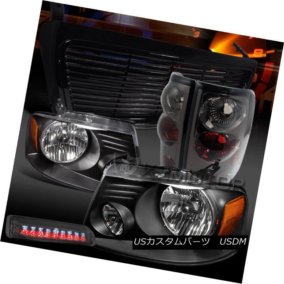 ヘッドライト 04-08 F150 Black Headlights+Billet Grille+Smoke Tail Lamps+LED 3rd Brake 04-08 F150ブラックヘッドライト+ Bil グリル+スモークテールランプ+ LED 3rdブレーキ
