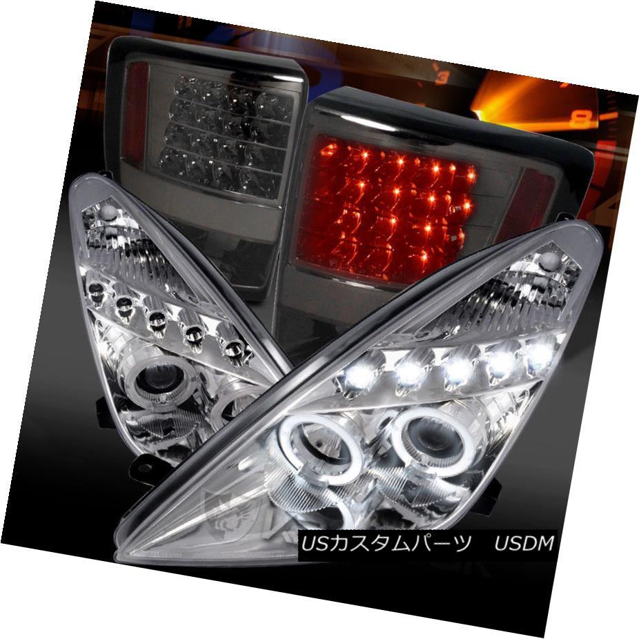 ヘッドライト For 00-05 Celica Chrome LED Halo Projector Headlights+Smoke LED Tail Lamps 00-05用Celica Chrome LEDハロープロジェクターヘッドライト+スモーキー ke LEDテールランプ
