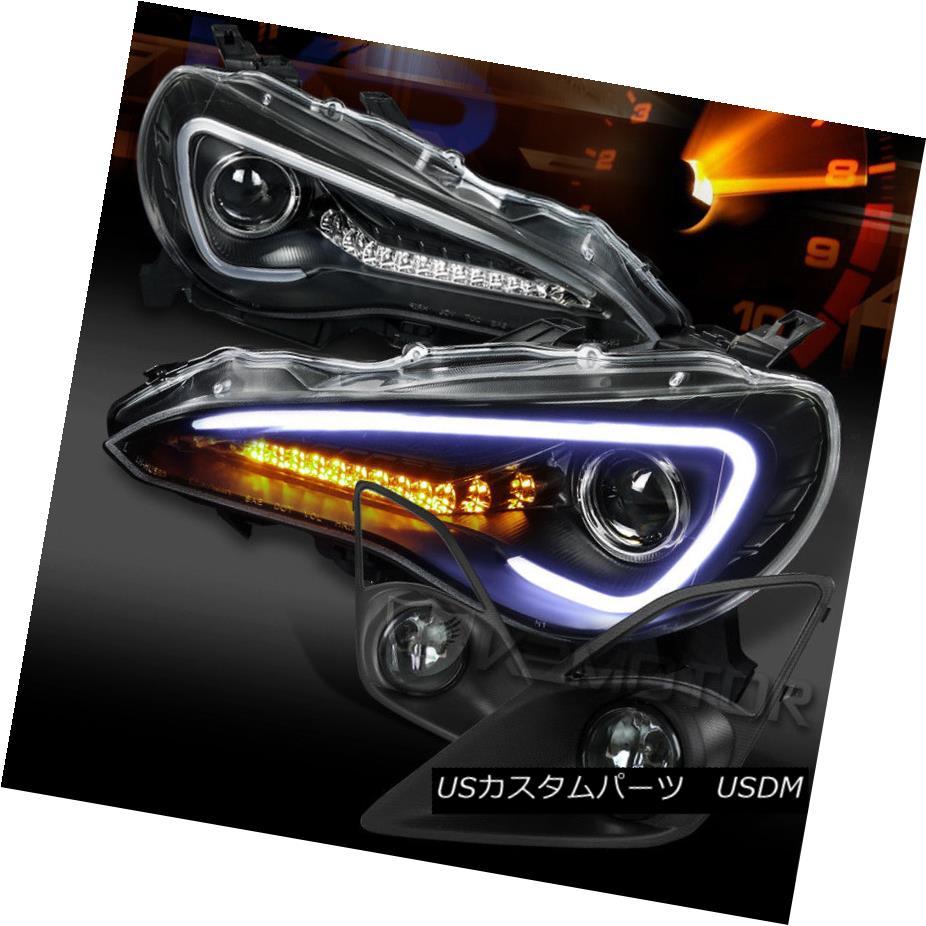 ヘッドライト For 12-16 FR-S Toyota 86 Black LED DRL Projector Headlight+Smoke Fog Lams+Switch 12-16 FR-S用トヨタ86ブラックLED DRLプロジェクターヘッドライト+スモーク eフォグラム+スイッチ