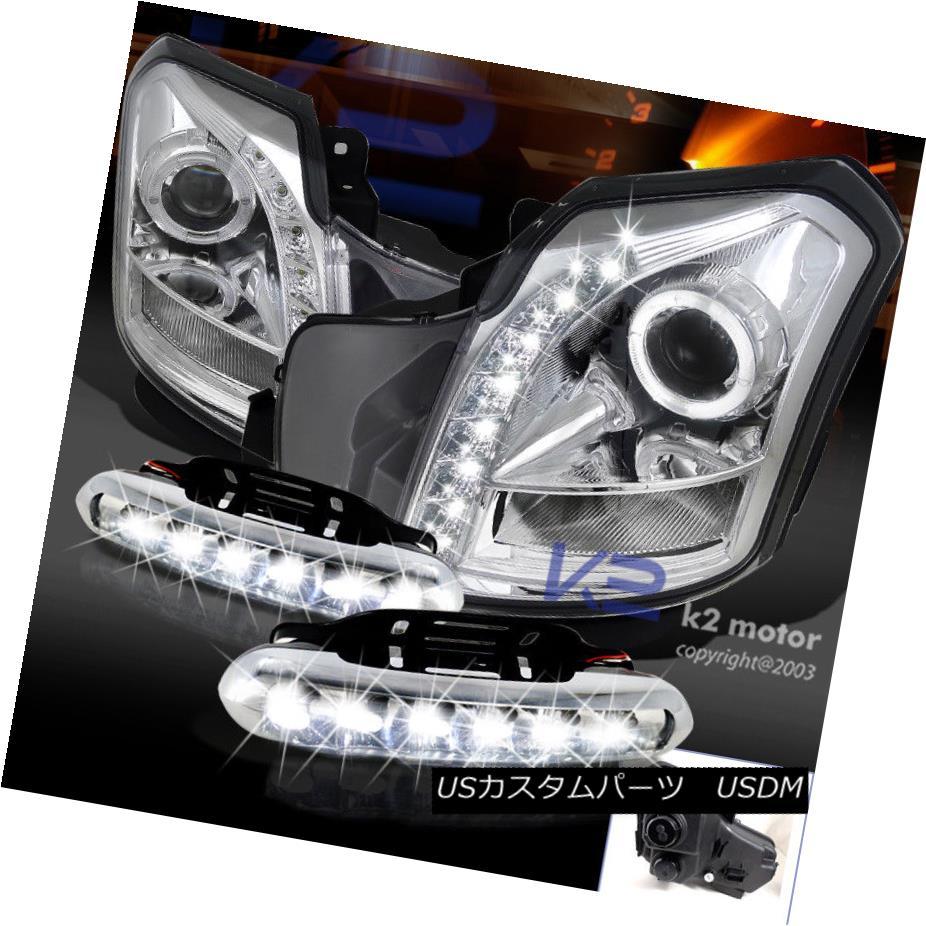 ヘッドライト 03-07 Cadillac CTS 8 SMD LED Halo Projector Headlights+Daytime Running Fog Lamps 03-07キャデラックCTS 8 SMD LEDハロープロジェクターヘッドライト+デイ 走行中のフォグランプ