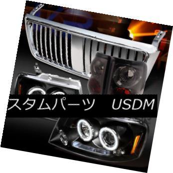 ヘッドライト 04-08 F150 Black LED Halo Projector Headlights+Smoke Tail Lamps+Chrome Grille 04-08 F150ブラックLEDハロープロジェクターヘッドライト+スモール keテールランプ+クロームグリル