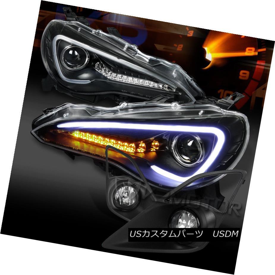 ヘッドライト For 12-16 FR-S Toyota 86 Black LED DRL Projector Headlight+Clear Fog Lamp+Switch 12-16 FR-S用トヨタ86ブラックLED DRLプロジェクターヘッドライト+クリーナー rフォグランプ+スイッチ