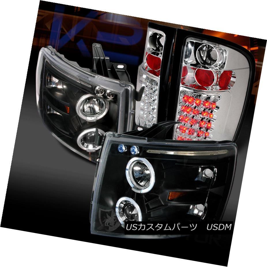 ヘッドライト 07-14 Chevy Silverado 1500 Black Halo Projector Headlights+Clear LED Tail Lamps 07-14 Chevy Silverado 1500ブラックハロープロジェクターヘッドライト+ Cle  ar LEDテールランプ