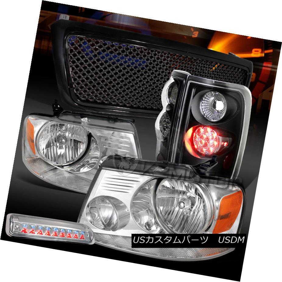 ヘッドライト 04-08 F150 Chrome Headlights+3rd Brake+Black LED Tail Lamps+Mesh Grille 04-08 F150クロームヘッドライト+ 3番ブレーキ+ブラックLEDテールランプ+メッシュグリル