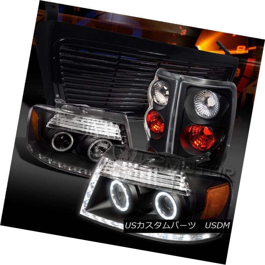 ヘッドライト 04-08 F150 Black Halo LED Strip Projector Headlights+Tail Lamps+Hood Grille 04-08 F150ブラックハローLEDストリッププロジェクターヘッドライト+タイ lランプ+フードグリル