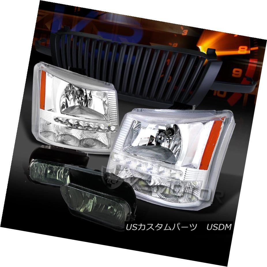 ヘッドライト 03-05 Silverado Chrome SMD LED DRL Headlights+Black Grille+Smoke Fog Lamps 03-05 Silverado Chrome SMD LED DRLヘッドライト+ Bla  ckグリル+煙霧ランプ