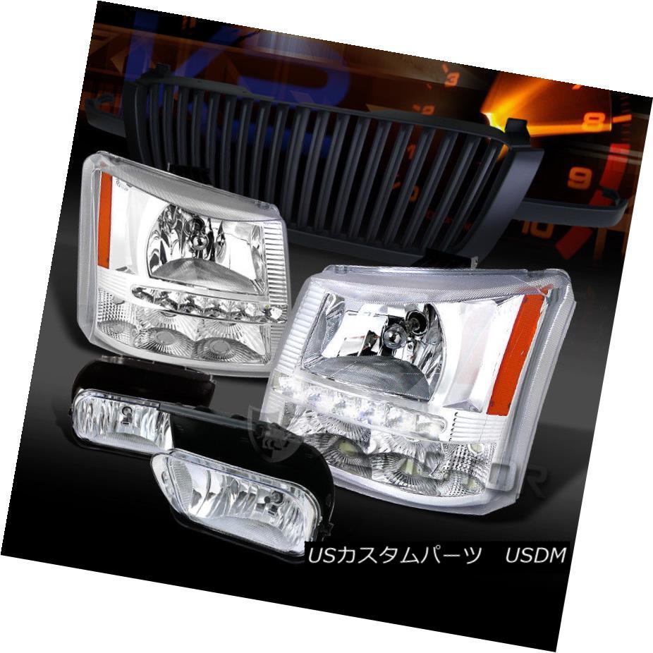 ヘッドライト 03-05 Silverado Chrome SMD LED DRL Headlights+Black Grille+Chrome Fog Lamps 03-05 Silverado Chrome SMD LED DRLヘッドライト+ Bla  ckグリル+クロームフォグランプ