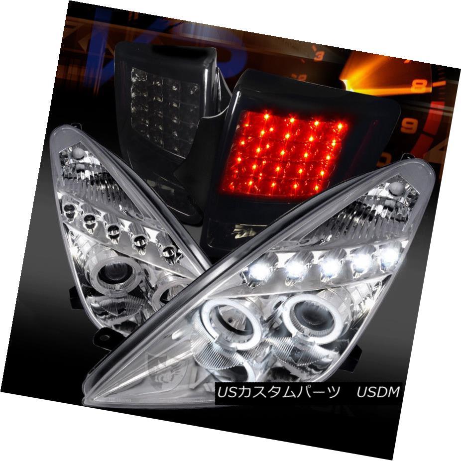 ヘッドライト For 00-05 Celica Chrome LED Halo Projector Headlights+Glossy Black LED Tail Lamp 00-05用Celica Chrome LEDハロープロジェクターヘッドライト+グロー ssyブラックLEDテールランプ