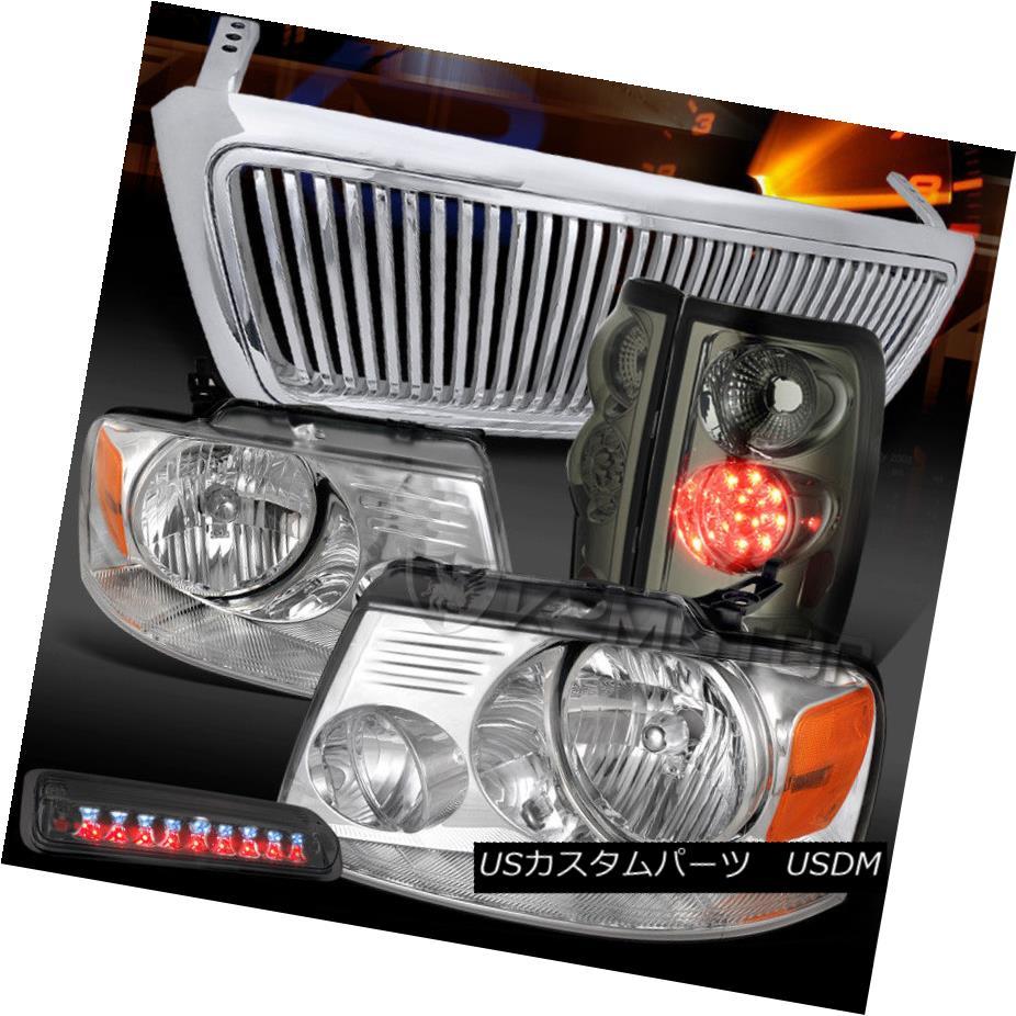 ヘッドライト 04-08 F150 Chrome Headlights+Vertical Grille+Smoke LED Tail 3rd Stop Lamps 04-08 F150クロームヘッドライト+ Ver tical Grille + Smoke LEDテール3rdストップランプ