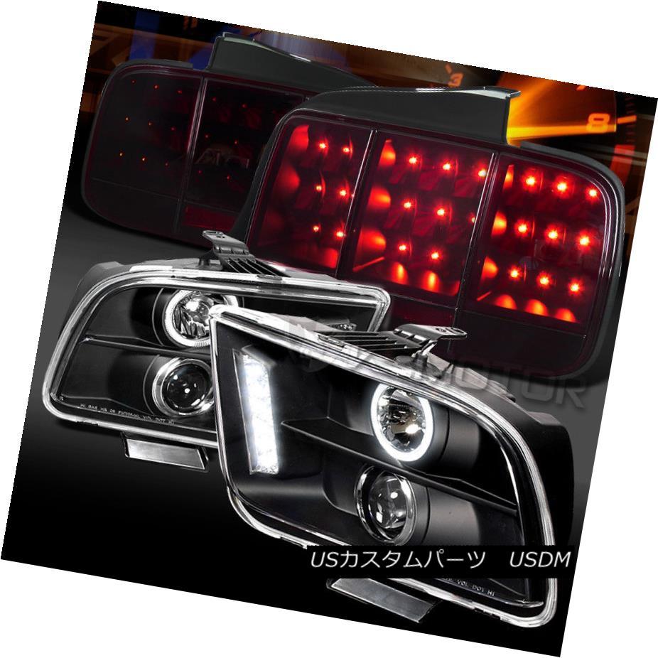ヘッドライト 05-09 Mustang Black Projector Headlights+Red Smoke Sequential LED Tail Lamps 05-09 Mustang黒プロジェクターヘッドライト+赤色スモークシーケンシャルLEDテールランプ