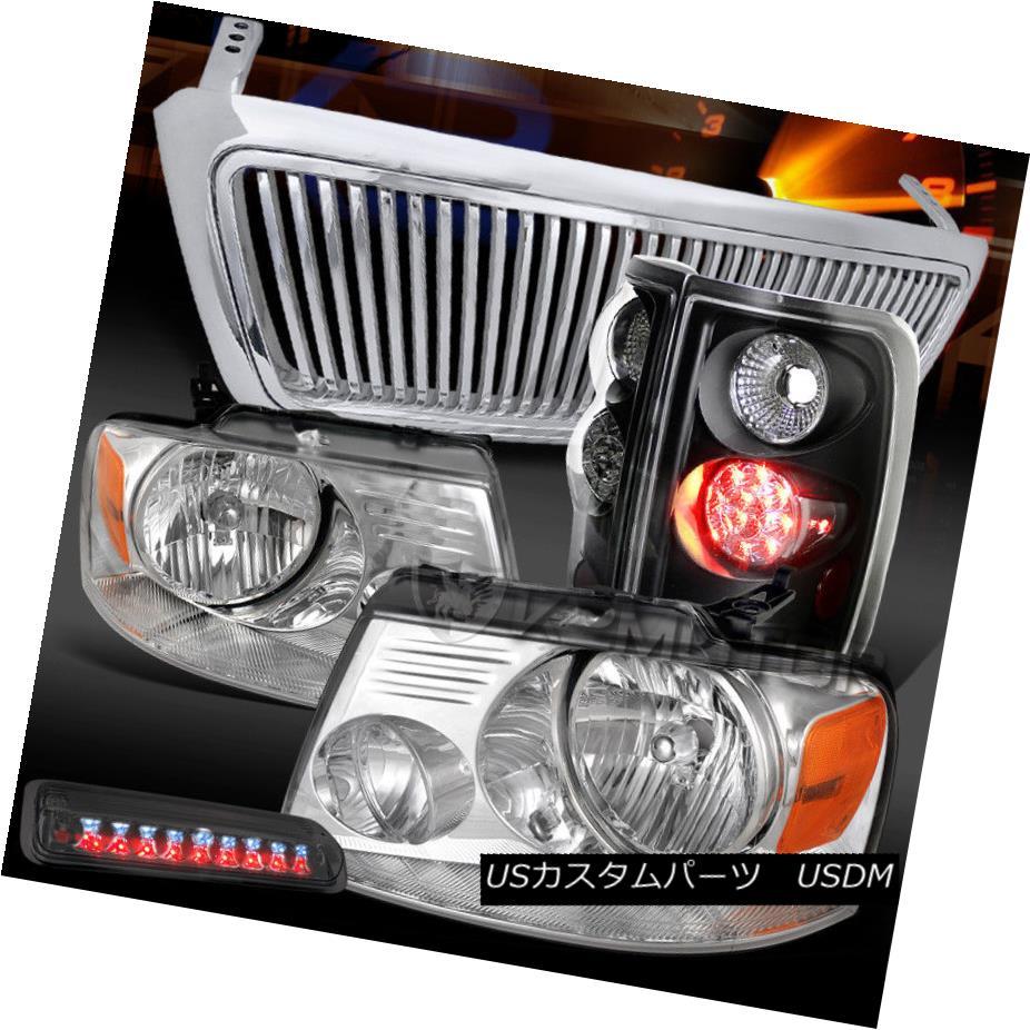 ヘッドライト 04-08 F150 Chrome Headlights+Black LED Tail+Smoke 3rd Brake Light+Chrome Grille 04-08 F150クロームヘッドライト+ Bla  ck LEDテール+スモーク第3ブレーキライト+クロームグリル