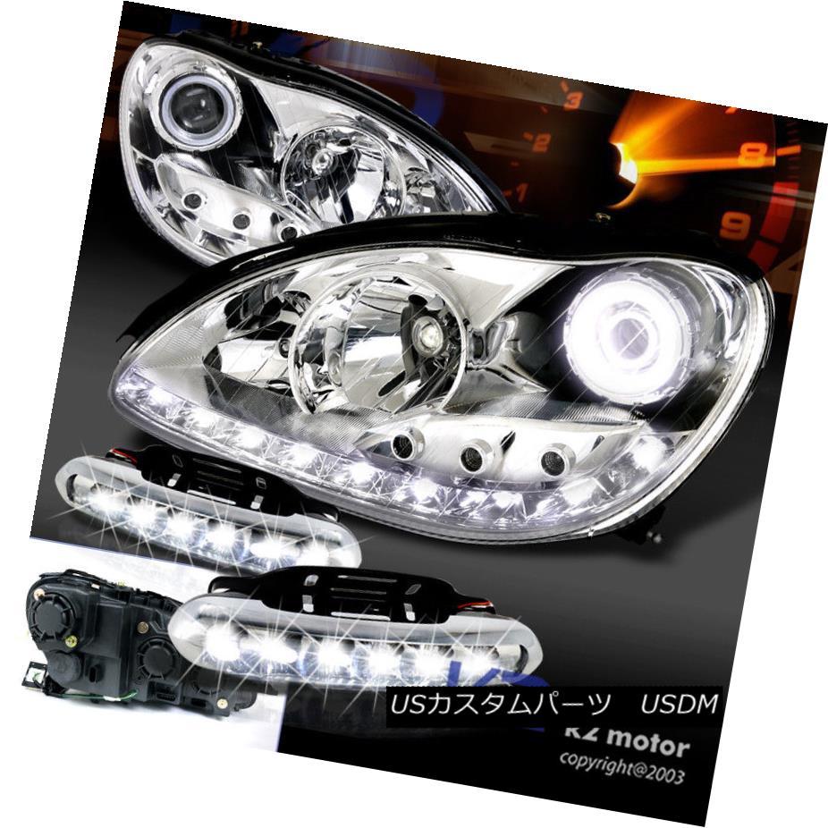 ヘッドライト 00-05 Mercedes W220 S-Class Chrome Halo Projector Headlights+LED Fog Bumper Lamp 00-05メルセデスW220 Sクラスクロームハロープロジェクターヘッドライト+ LEDフォグバンパーランプ