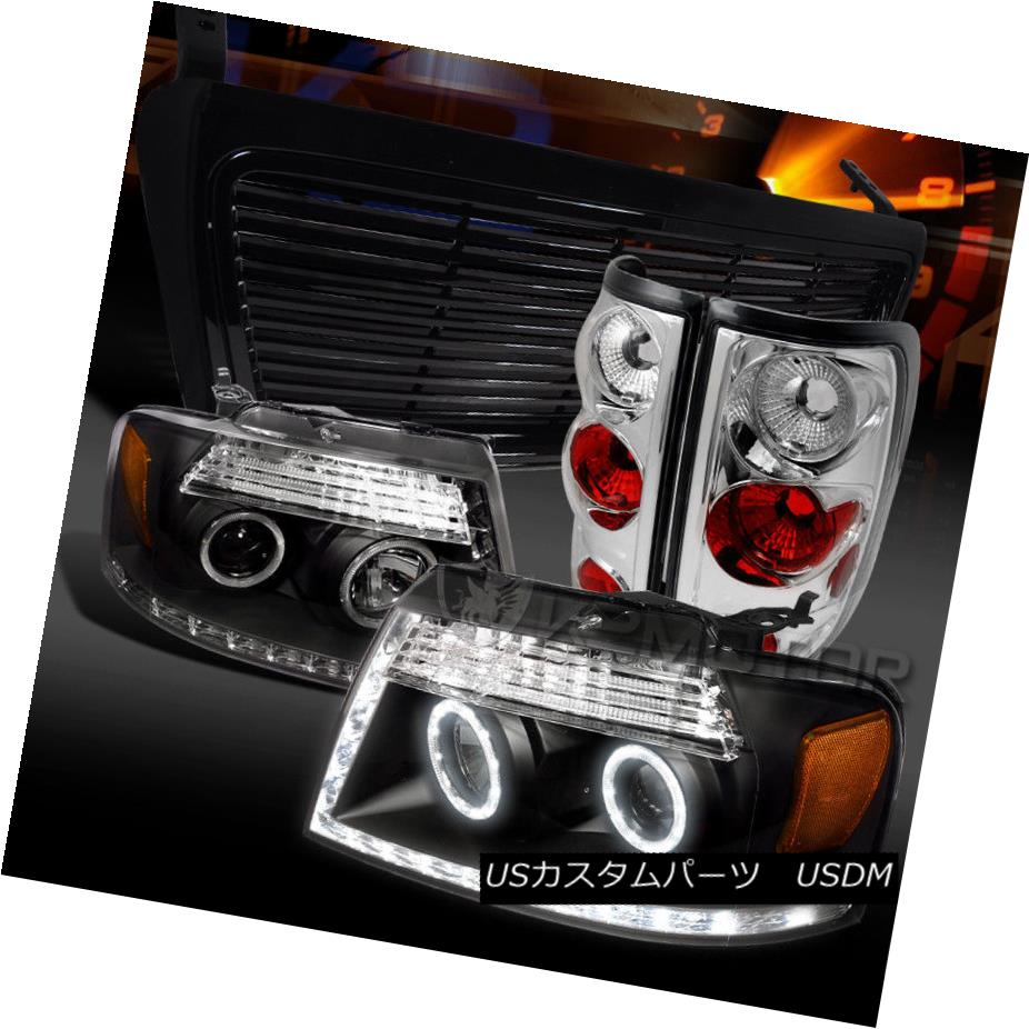 ヘッドライト 04-08 F150 Black Halo LED Projector Headlights+Grille+Clear Tail Lamps 04-08 F150ブラックHalo LEDプロジェクターヘッドライト+グリル lle +クリアテールランプ