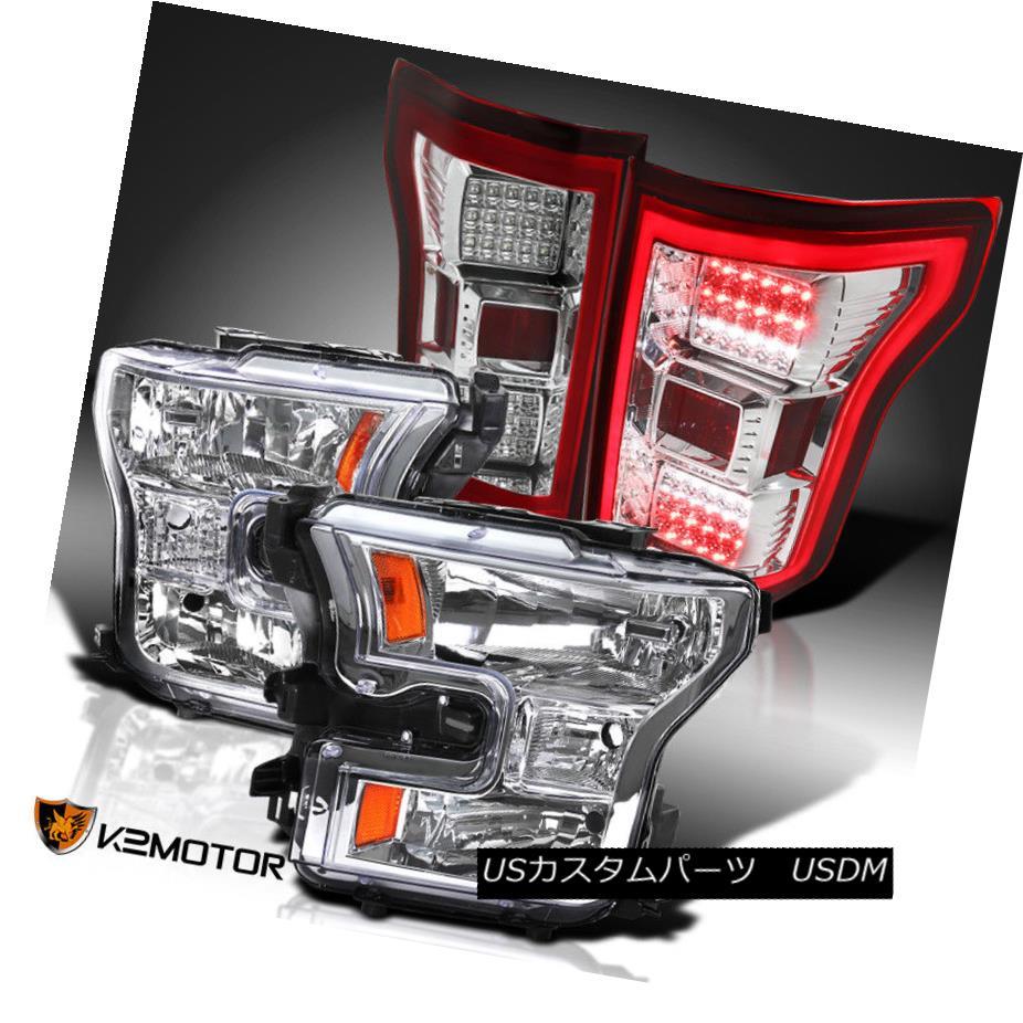 ヘッドライト 2015-2017 Ford F150 Replacement Headlights+Red Full LED Rear Brake Tail Lamps 2015-2017 Ford F150代替ヘッドライト+レッドフルLEDリアブレーキテールランプ