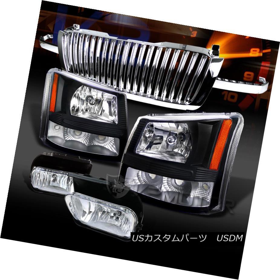 ヘッドライト 03-05 Silverado Black Crystal Headlights+Chrome Fog Lamps+Hood Grille 03-05 Silverado Blackクリスタルヘッドライト+ Chr  omeフォグランプ+ Hood Grille